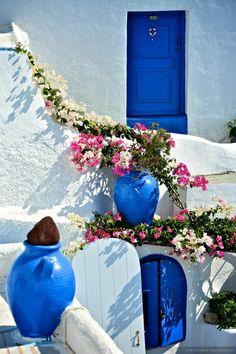 greek island white and blue home