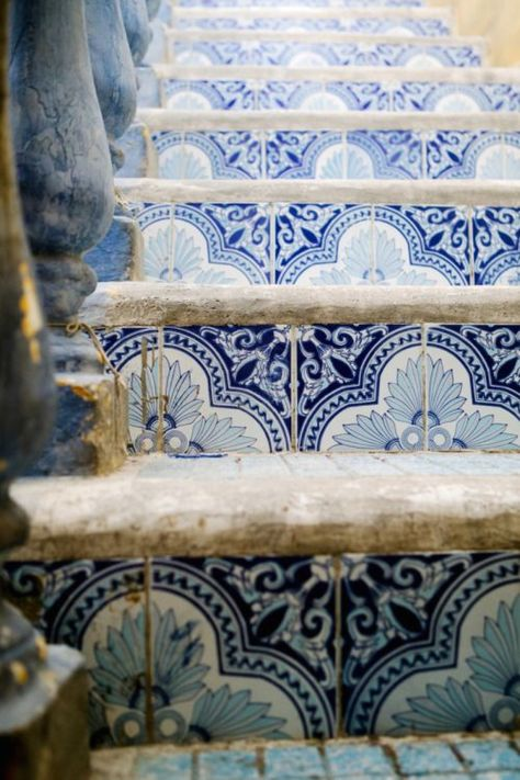 blue steps with patterns