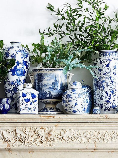blue and white chinese ginger jars