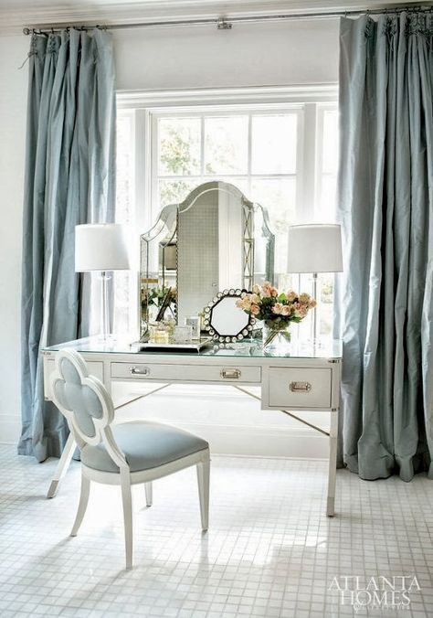 6. Perfect Pastels With A Beautiful Mirror, Chair & Desk To Match