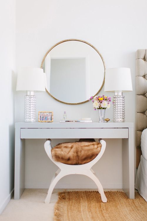 10. Light & Airy With Circular Mirror and Low Level Level Stool