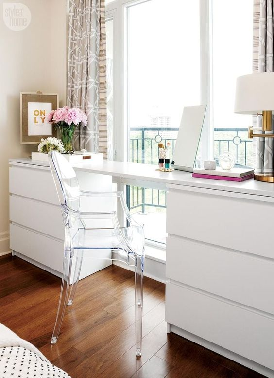 7. Simple Elegance With Clean Lines & Storage Cabinets