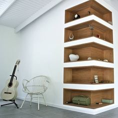 wall with wooden storage shelves