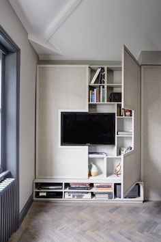 white TV cabinet with concealed storage