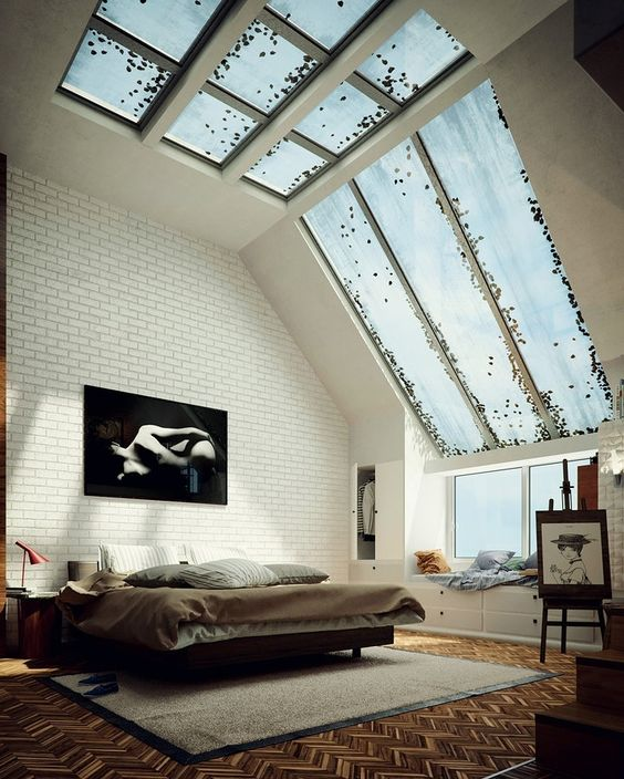 skylight window in bedroom