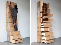 Stackable storage with stairs