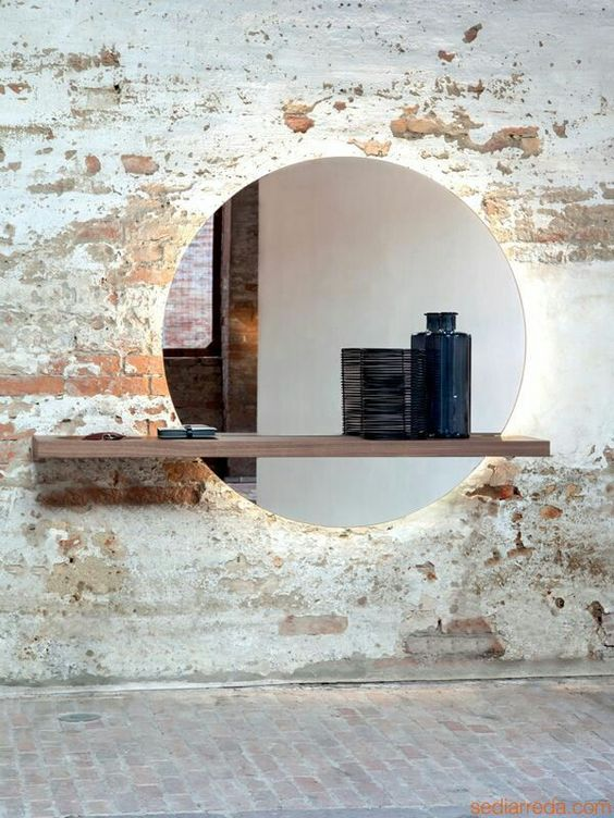 exposed brick surface with mirror