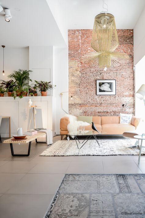 exposed brick surface living room