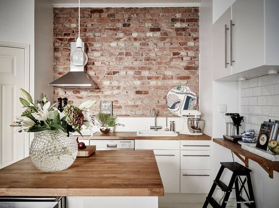 exposed brick surface kitchen