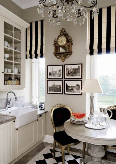 black and white blinds