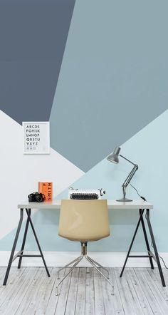 blue geometric accent wall