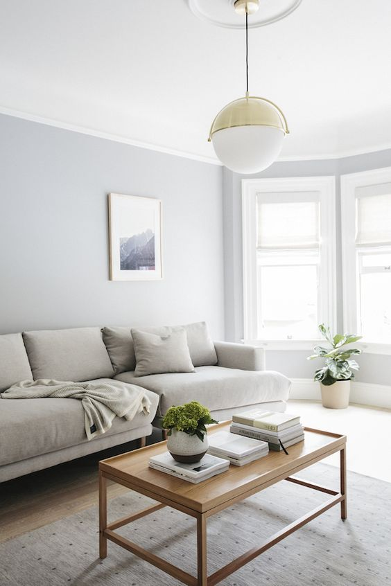 blue living room with wooden coffee table