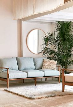 blue couch in living room