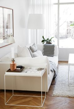 living room white with sofa