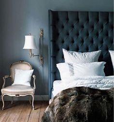 deep blue bedroom
