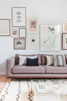 living room with pink couch