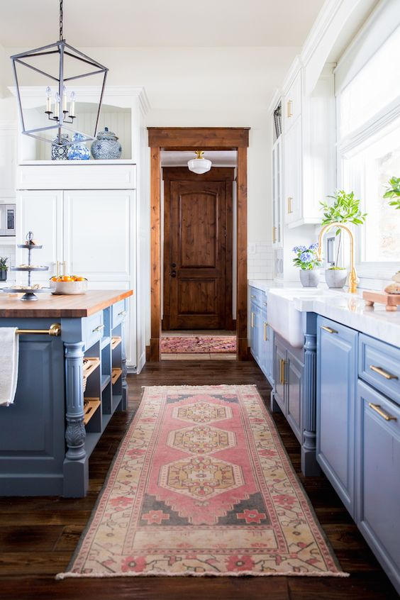 blue kitchen with rug