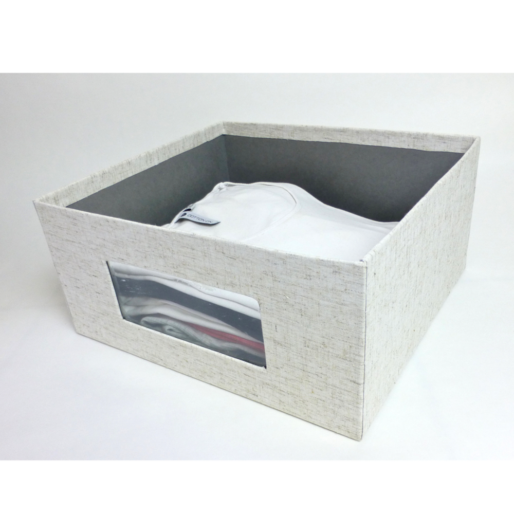 Linen storage box with clothing