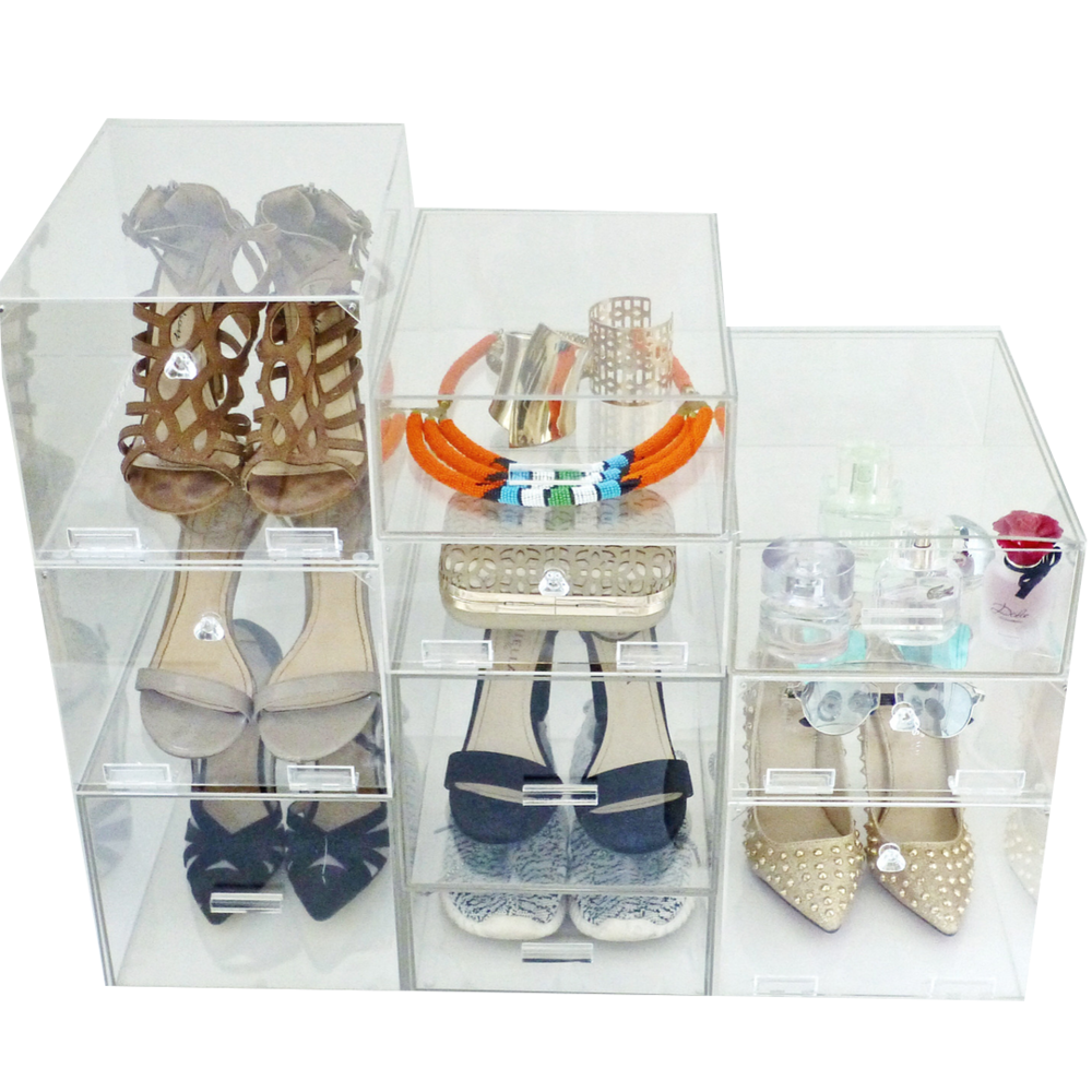 Stacked shoe Collection of acrylic boxes