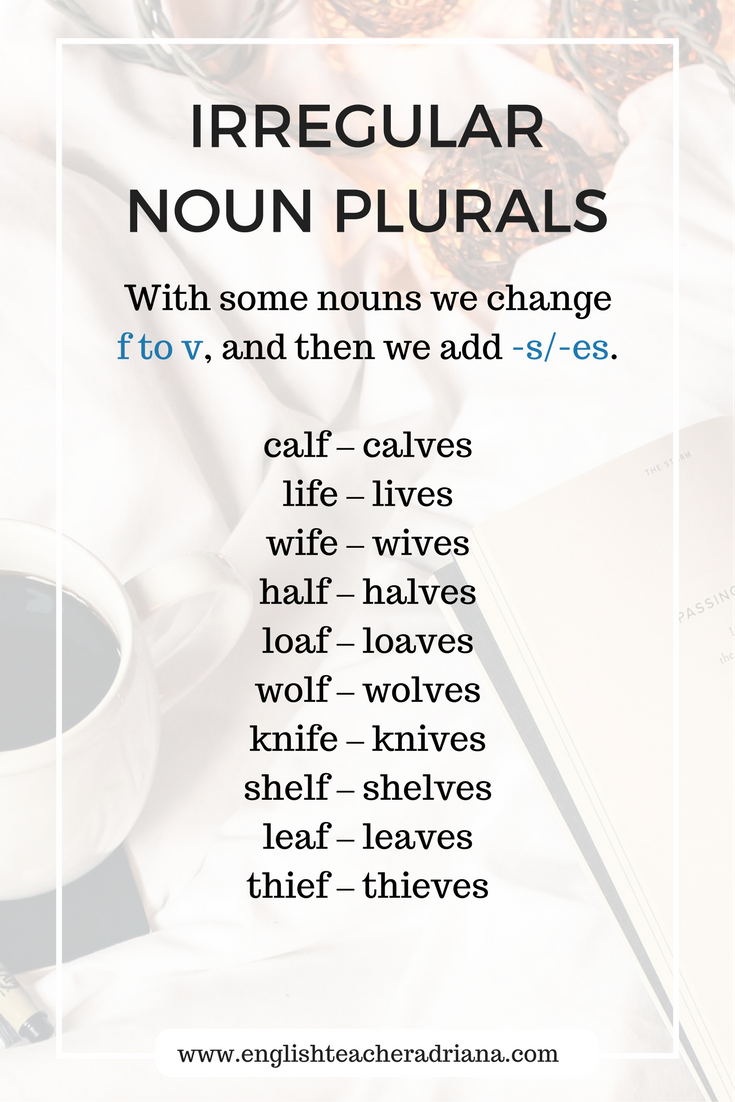 English Grammar Lesson- Irregular noun plurals in which there are changes of consonants.
