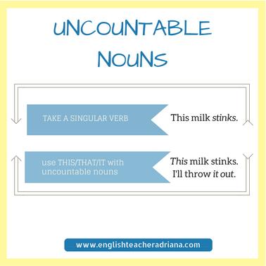 Uncountable nouns, English Grammar