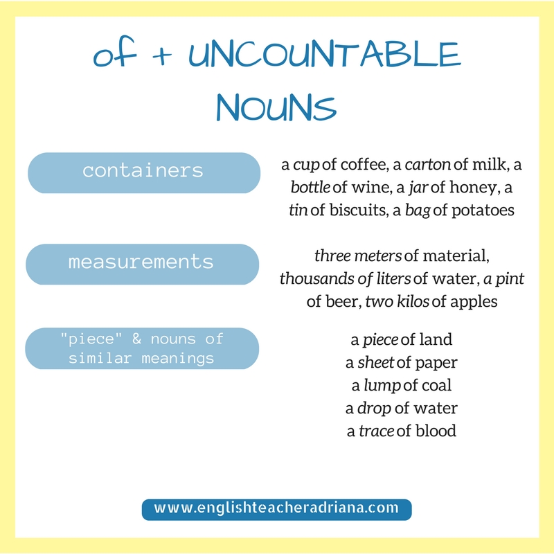 English Grammar, Uncountable nouns, how to learn English Grammar