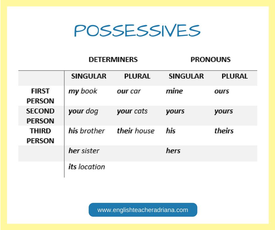 English Grammar, possessives , possessives  explained