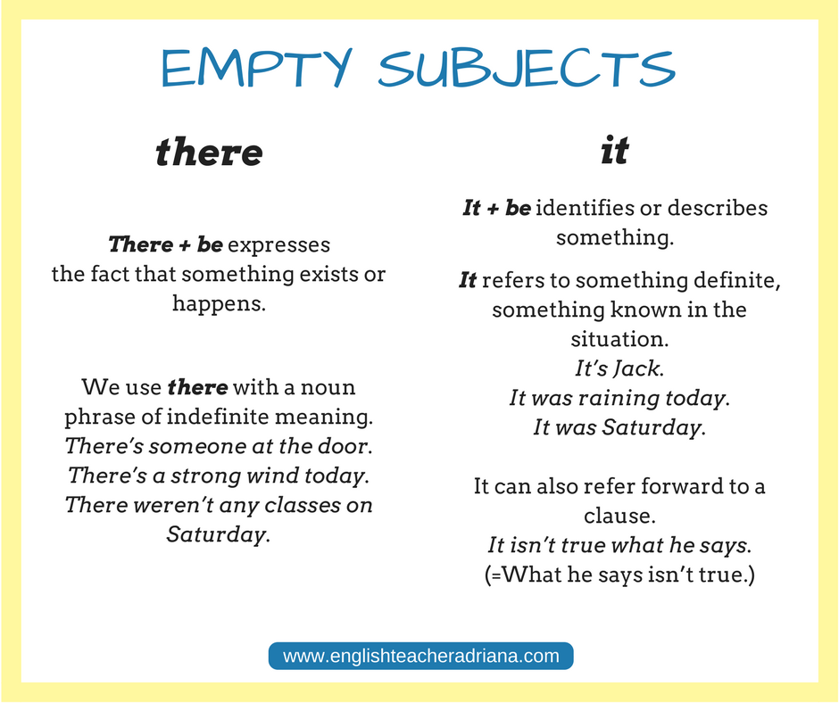 Empty Subjects, English grammar lesson