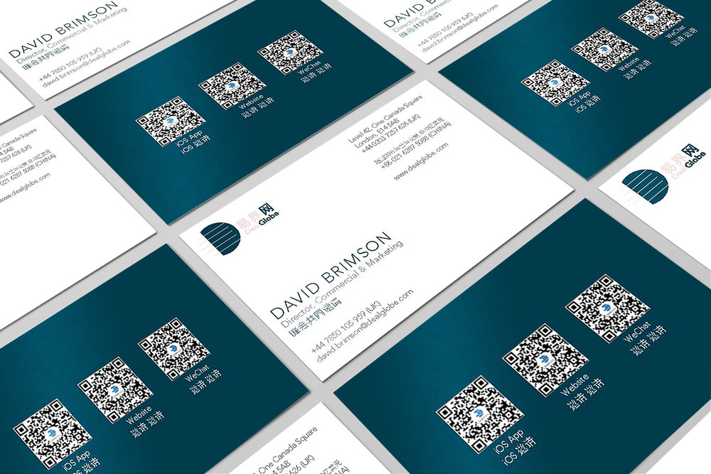 Branding - Yoke was asked to extend the project into other aspects of DealGlobe's brand such as business cards.  The teal colour used on the walls is now used throughout the DealGlobe brand identity.