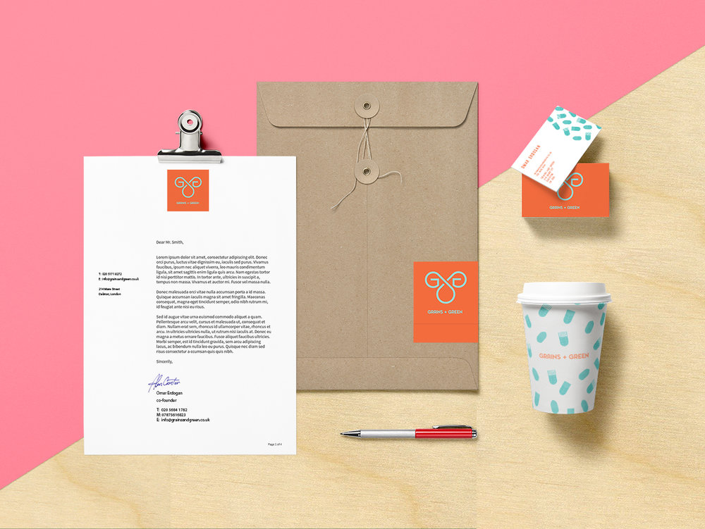 grains and green brand identity
