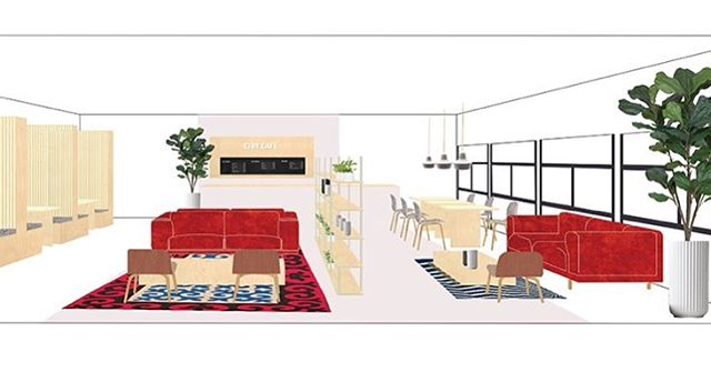 Our Work // illustration of our cafe design in #ejby #copenhagen  #illstration #interior #adobeillustrator #spatialdesign #interiorinspo #interiordesign #muuto #design #interior #instagood #yokelondon #workspace #officespace #officeinspo #officdesign