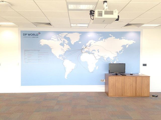 Our Work // and a nice big map designed for London Gateway, showing all their shipping routes and DP World ports  #shipping #shippingcontainer #port #map #worldwideshipping #worldmap #graphics #wallart #wallpaper #officdesign #officeinspo #officespace #design #workplace #werk #yoke