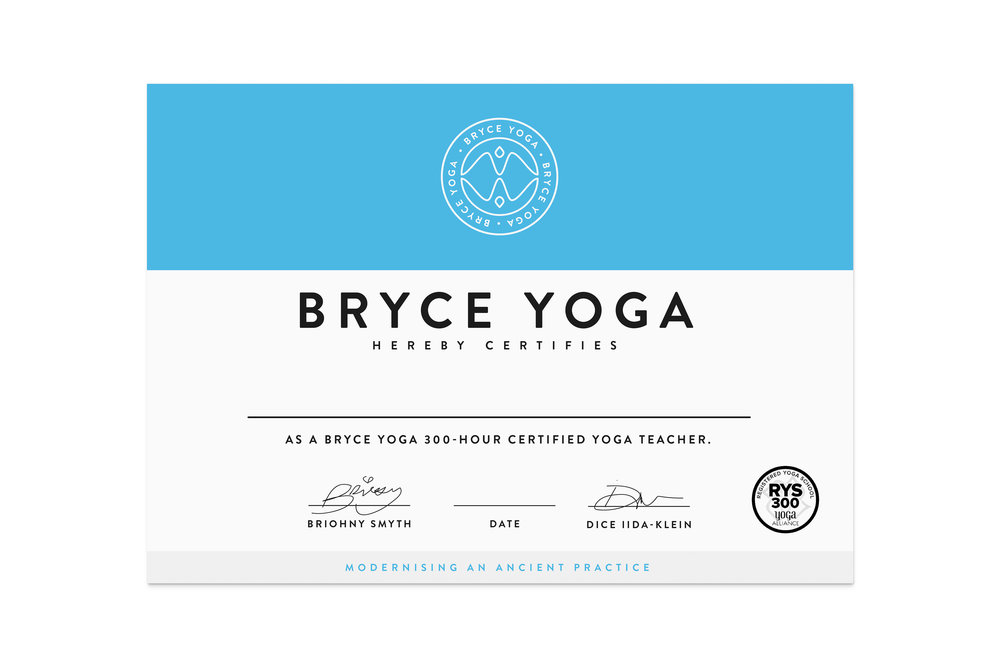 Bryce Yoga Certificate Design