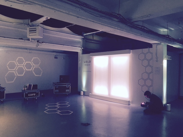 Set up at the Vinyl Factory - Latex wall made by us for Lelo's London launch of LeloHex.