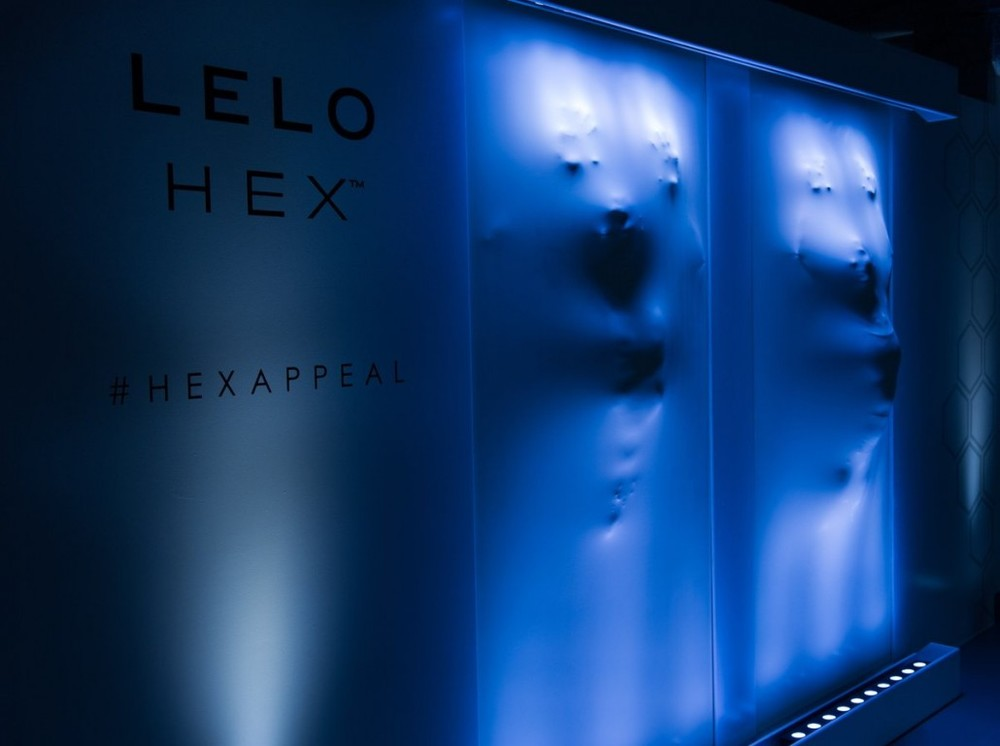 Hexappeal for Lelo- Lelohex - latex wall made by Craftwork Projects - London launch at the Vinyl Factory.