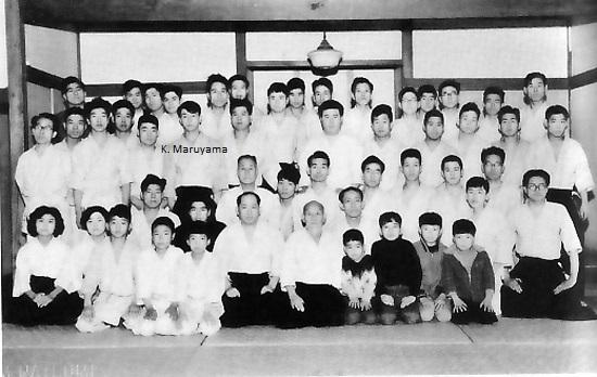 Koretoshi Maruyama Sensei in a group photo with O Sensei