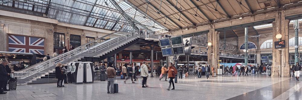 Aménagement quai transversal Gare du Nord à Paris par la SNCF et Bouygues Bâtiment IDF.