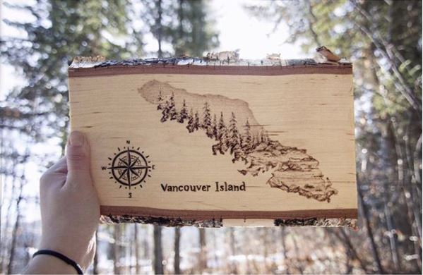 "A wood burnt, or ""pyrographic"" of Vancouver Island by  sammmooreart"