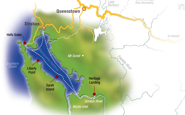 Route World Heritage Cruises Strahan Tasmania