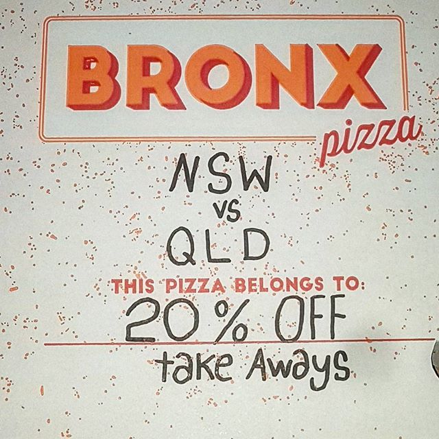 20 % takeway orders before kickoff. Tonight only for the State of Origin the phones are ready ! #welovesurfing #welcometothebronx #pizzafortheplanet