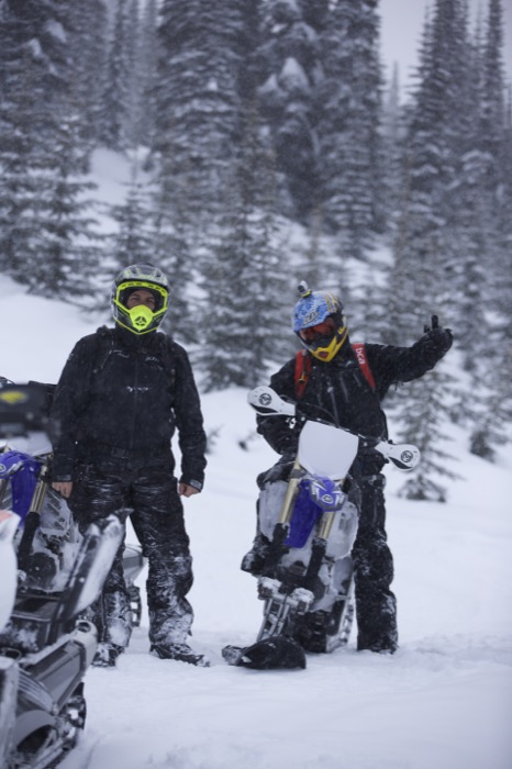 Jim Burrows, and Ryan Dixon enjoying new friends great snow and the Yamaha YZ450FX