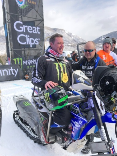 Doug Henry win the gold in Para Snow BikeCross.