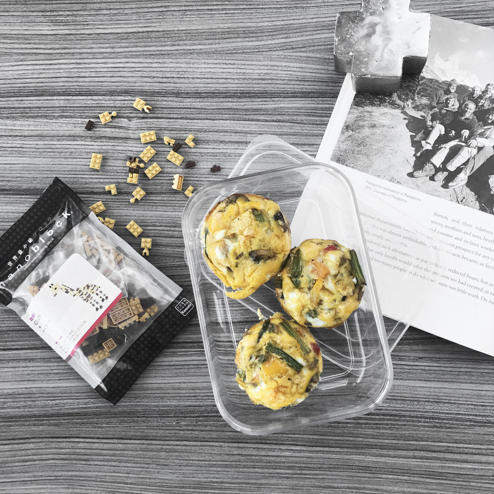 Above: Egg Muffins on the go! ---> rushed breakfast, lunch at your desk, or afternoon snack
