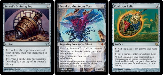Spin the top, draw Emrakul and cast it with Relic. Welcome to magical Christmas-time land.