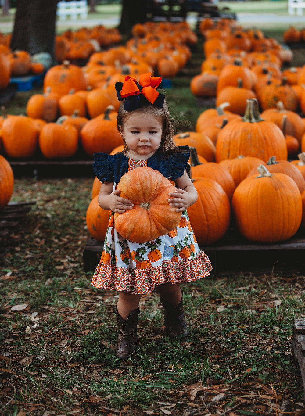 She definitely surprised me with the huge pumpkins she was choosing for such a tiny tot herself!!!
