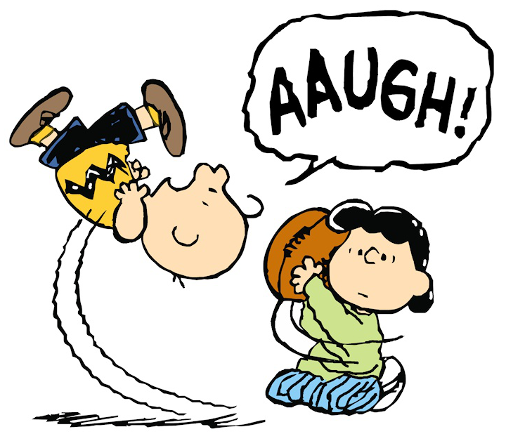 POOR CHARLIE BROWN. NOT THE OLE' BAIT AND SWITCH TRICK? GOOD GRIEF!