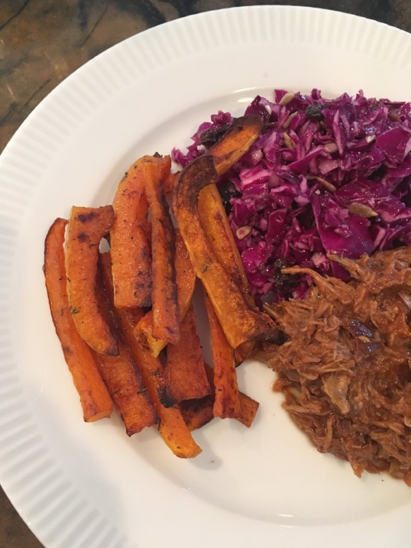 Crockpot BBQ Pulled Pork ,  Cinnamon and Thyme Butternut Squash Fries   shown here with Spicy Rainbow Slaw with the vinaigrette option, raisins and sunflower seeds!