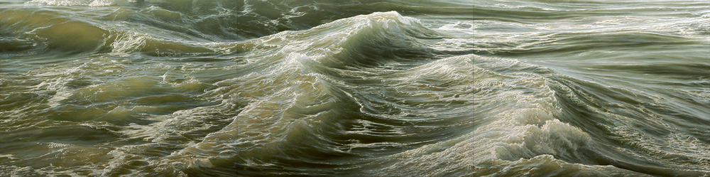 "Deep Water No. 1, oil on canvas, triptych, 72"" x 288"", 2012"