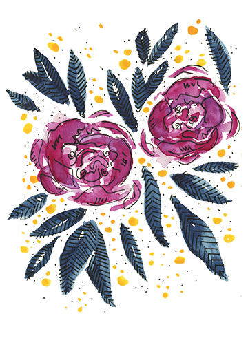 Catherine McGuire Surface Design Watercolor Magenta and Indigo Floral