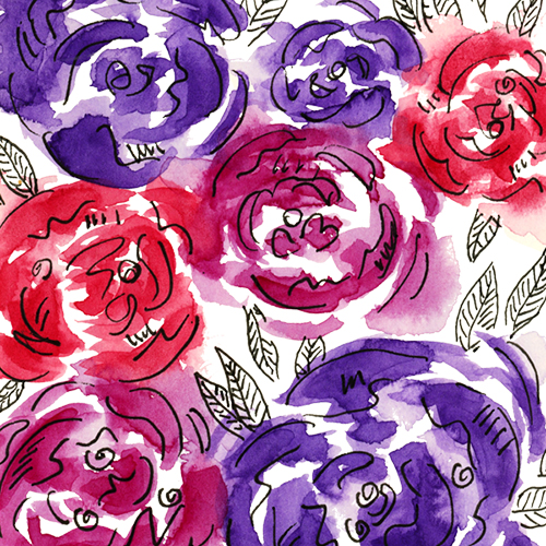 Bright pink, magenta, and purple loose watercolor rose illustration pattern with doodle leaves